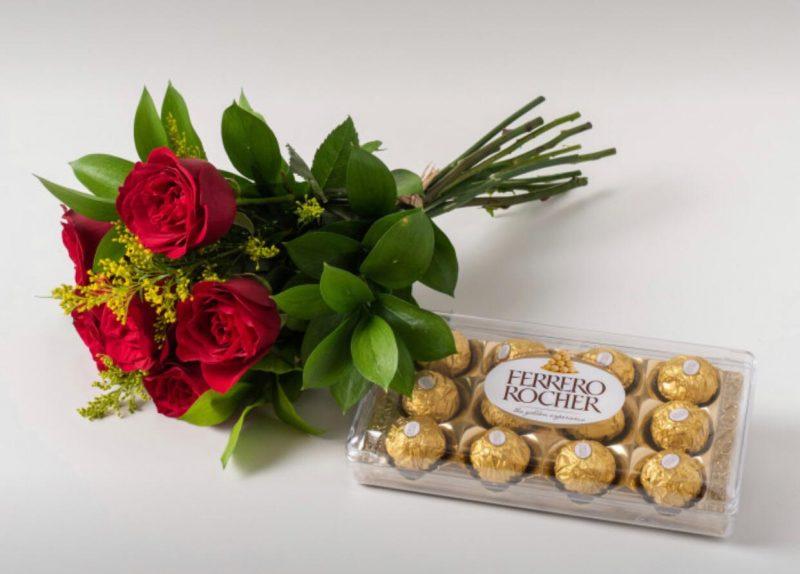 Buquê Com 6 Rosas Vermelhas e Chocolate